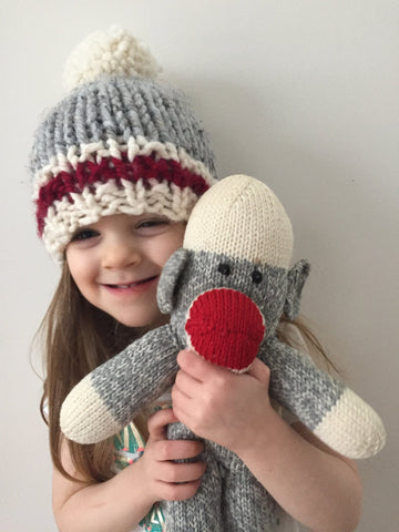 Sock Monkey Winter Hat with Pom Pom