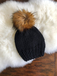 Adult Okemo Hat with  Faux Fur Pom Pom