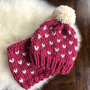 Little Ones Little Hearts Hat and Cowl Set