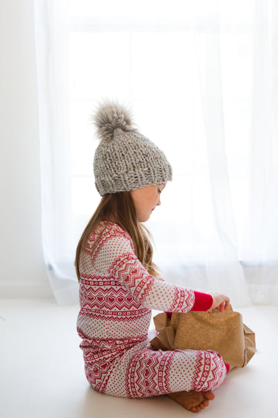 Little Ones Okemo Hat with Faux Fur Pom Pom