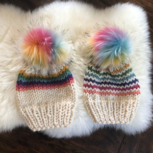 Rainbow Stripe Hat with Faux Fur Pom Pom