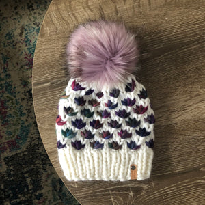 Luxury Lotus Flower Beanie in White and Anniversario