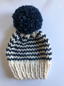 Adult Striped Hat with Pom Pom