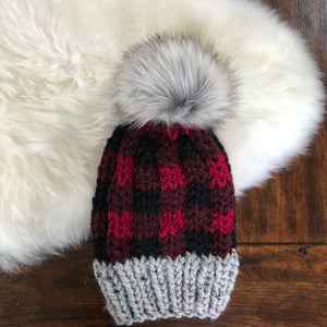 Red and Black Plaid Hat with choice of pom pom
