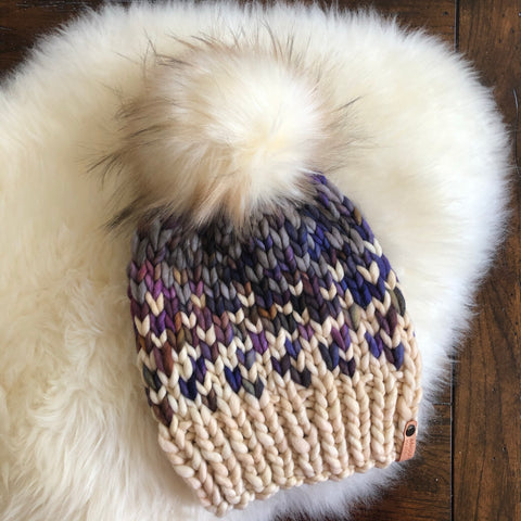 Sunrise hat with Faux Fur Pom Pom