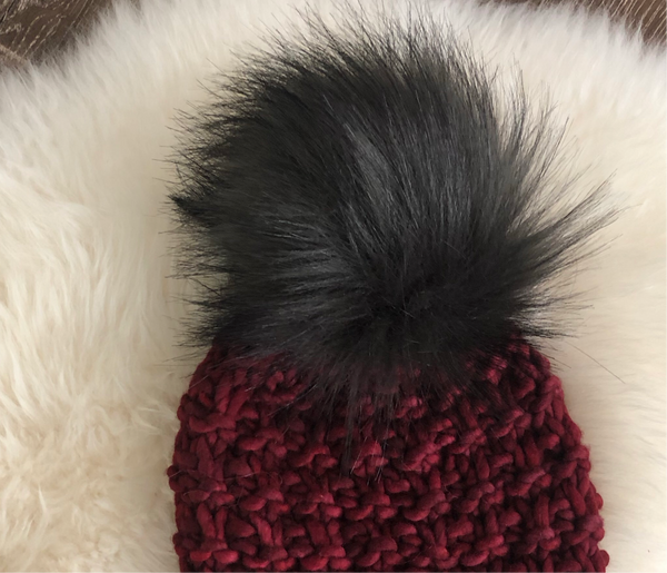 Black Bear Faux Fur Pom Pom
