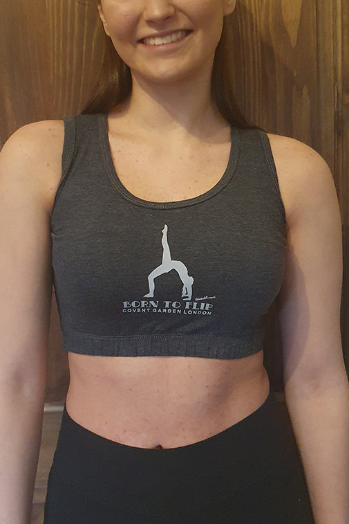 "Mia ""Born to Flip"" Gymnastic Top in Charcoal"