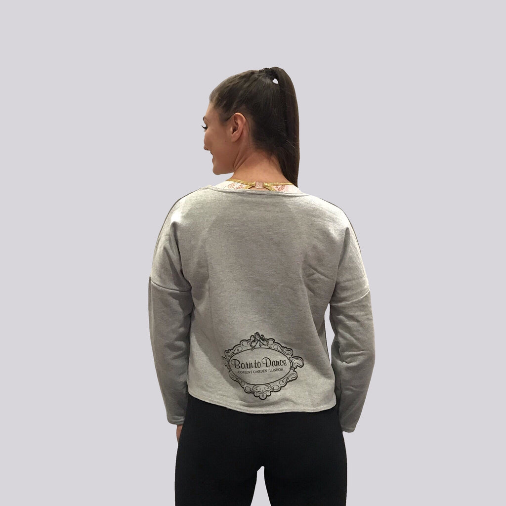 """Emma"" Long Sleeved Top in Light Grey"