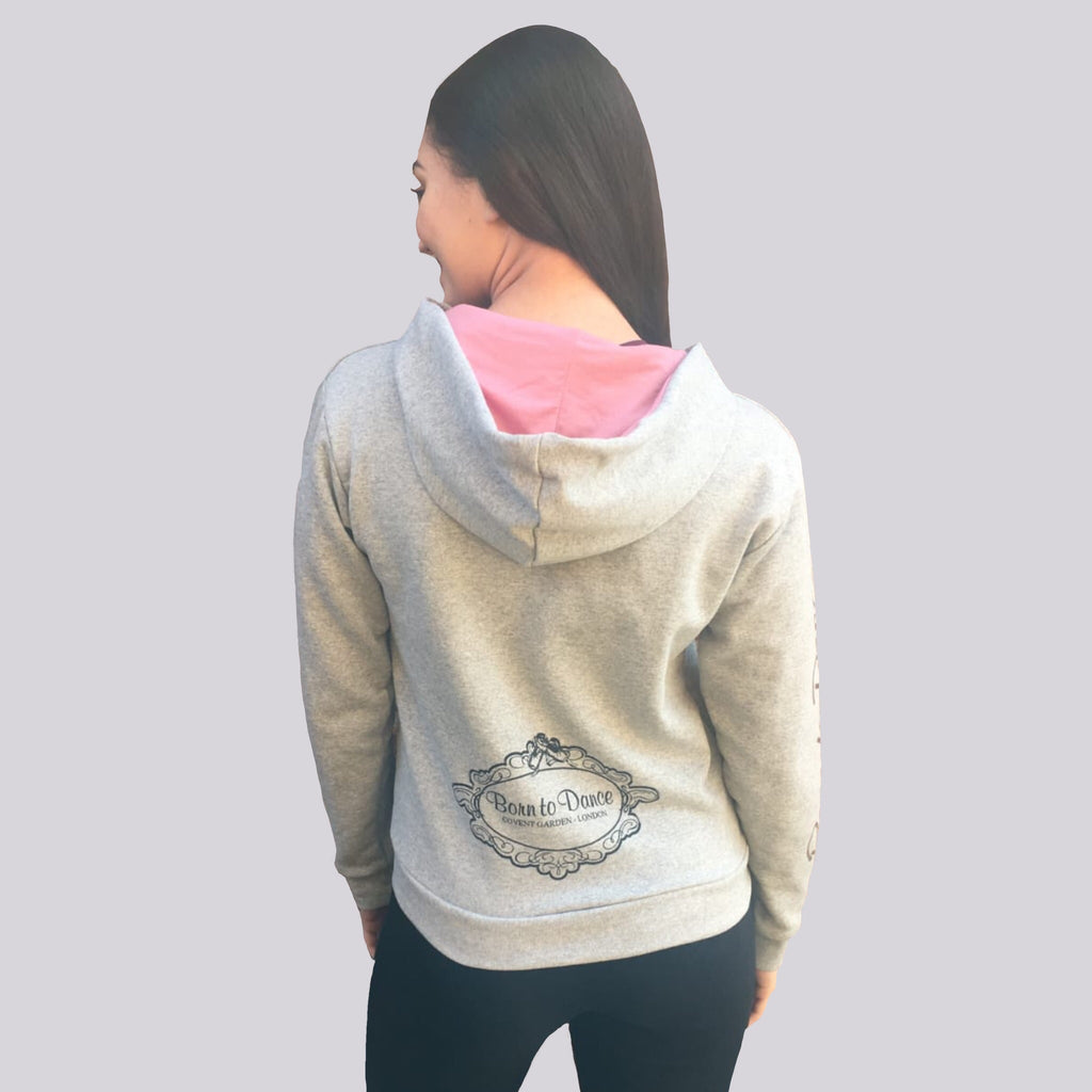 """Emma"" Long Zipped Hoodie in Light Grey"