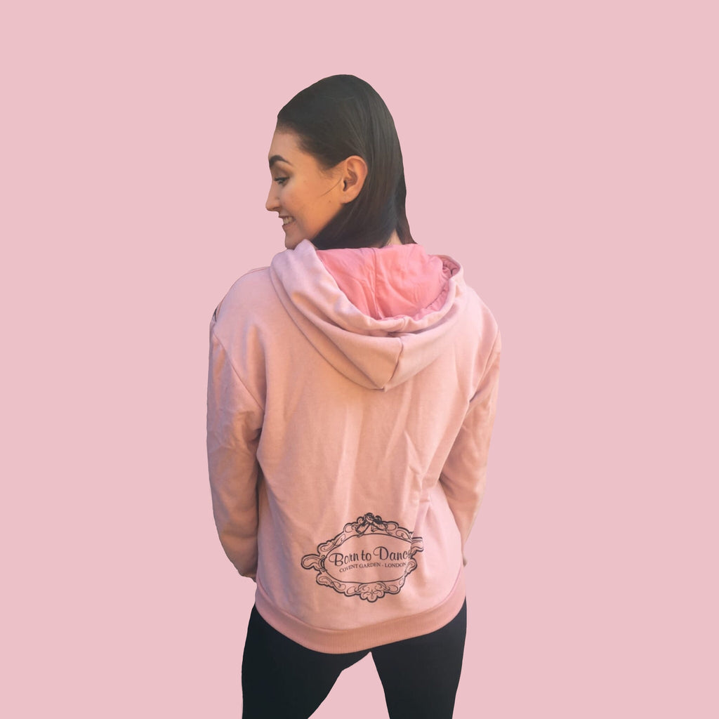 """Emma"" Long Zipped Hoodie in Pale Dusky Rose"