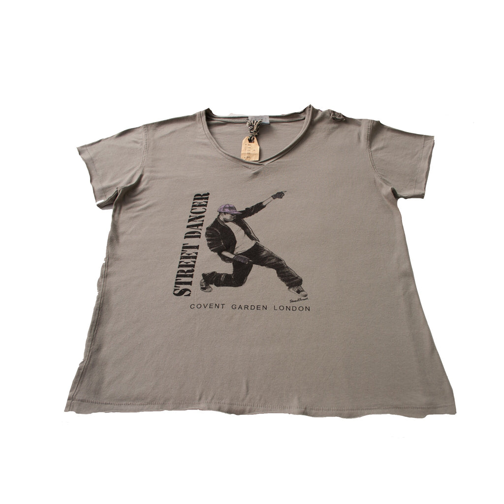 "Boys Dance 2 ""Max"" Baggy fit V neck t-shirt in Grey / Green"