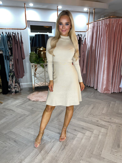 Ida Beige High Neck Skater Dress
