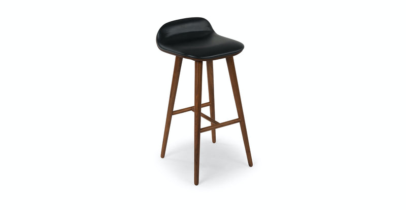 Campus Black Leather Walnut Bar Stool