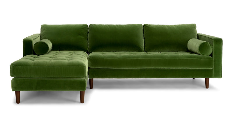 Auriese Grass Green Left Sectional Sofa