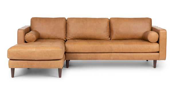 Auriese Charme Tan Left Sectional Sofa