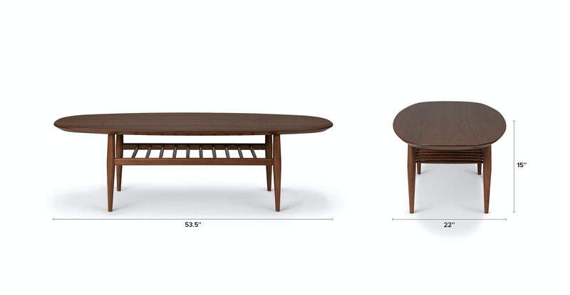Nayla Walnut Oval Coffee Table