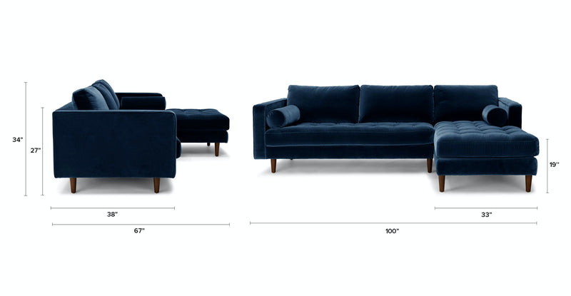Auriese Cascadia Blue Right Sectional Sofa