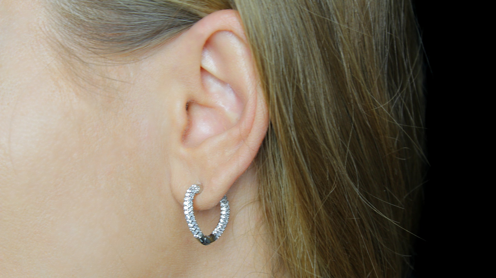 Sophie Hoop Heart Earrings in Silver