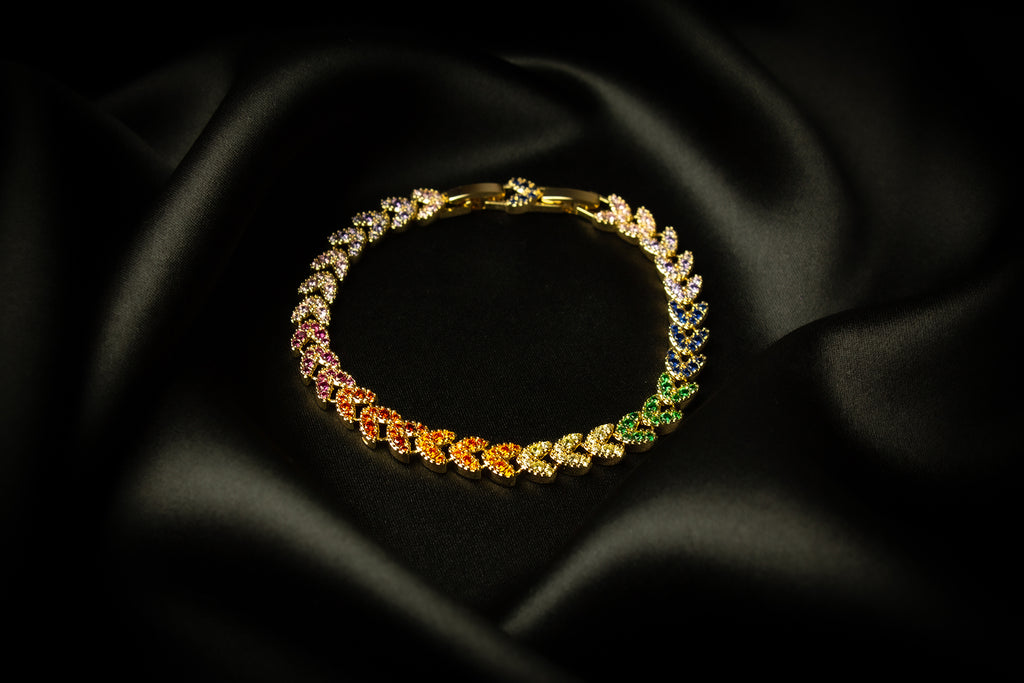 Lilly Rainbow Gold Zirconia Crystals Bracelet