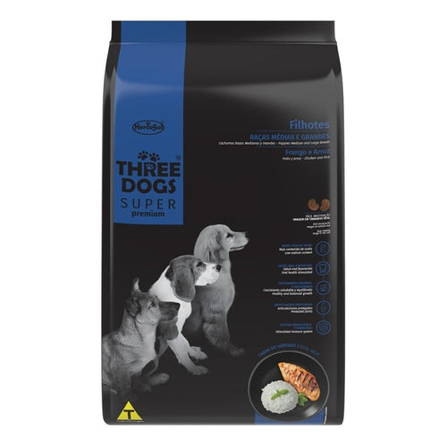 Three Dogs Super Premium Cachorro Medium 15+2 Kg Con Regalo