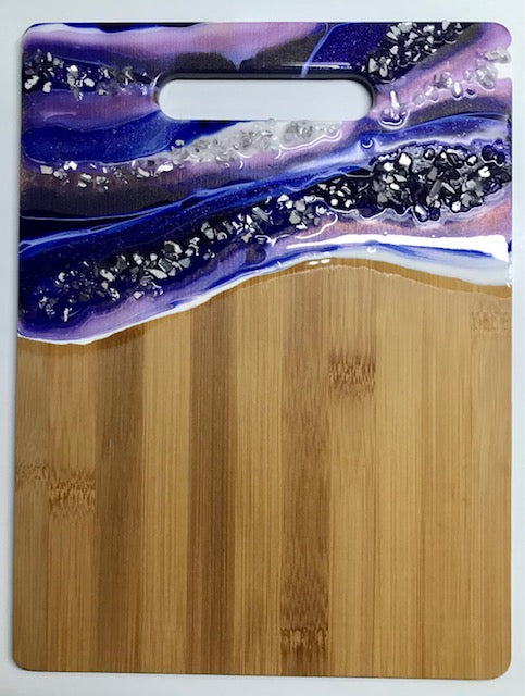 #14 Purple/Blue/White Resin Hand Poured Bamboo Cutting Board