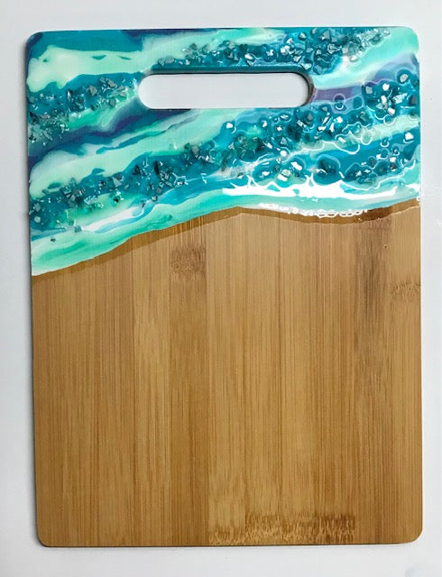 #9 Green/Teal Resin Hand Poured Bamboo Cutting Board