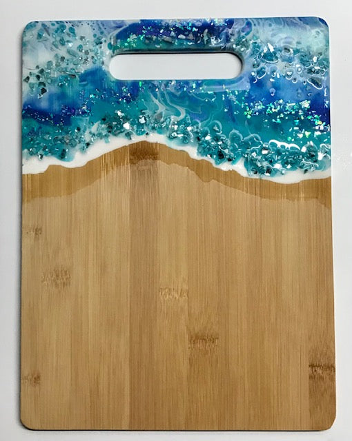 #7 White/Teal/Blue Resin Hand Poured Bamboo Cutting Board