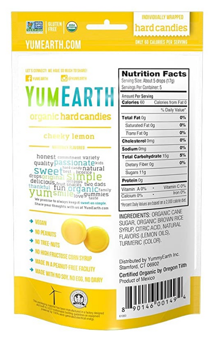 YUMEARTH Organic Cheeky Lemon Hard Candy