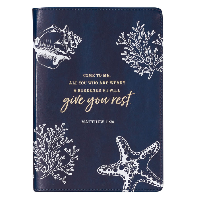 Give You Rest Slimline LuxLeather Journal - Matthew 11:28