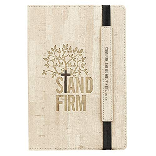 Christian Art Gifts Tan Faux Leather Bullet Journal | Stand Firm - Luke 21:19 | Flexcover Inspirational Notebook w/Elastic Closure 160 Dot Grid Pages w/Scripture, 5.8 x 8.5 Inches
