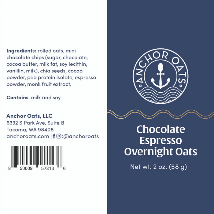 Anchor Oats Chocolate Espresso Overnight Oats Gift Set - Case of 6 - 1.8 oz