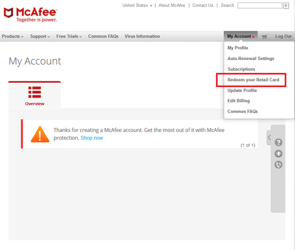 Activate McAfee Subscription Redeem your Retail Card