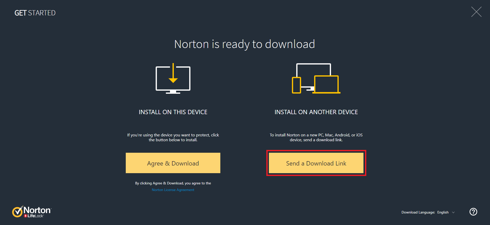 Install Norton to another device
