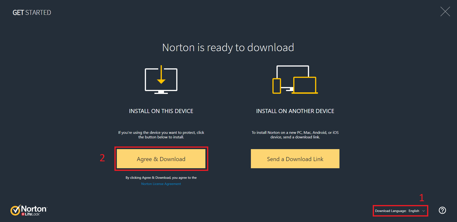 Install Norton Choose Language and Download the Installer