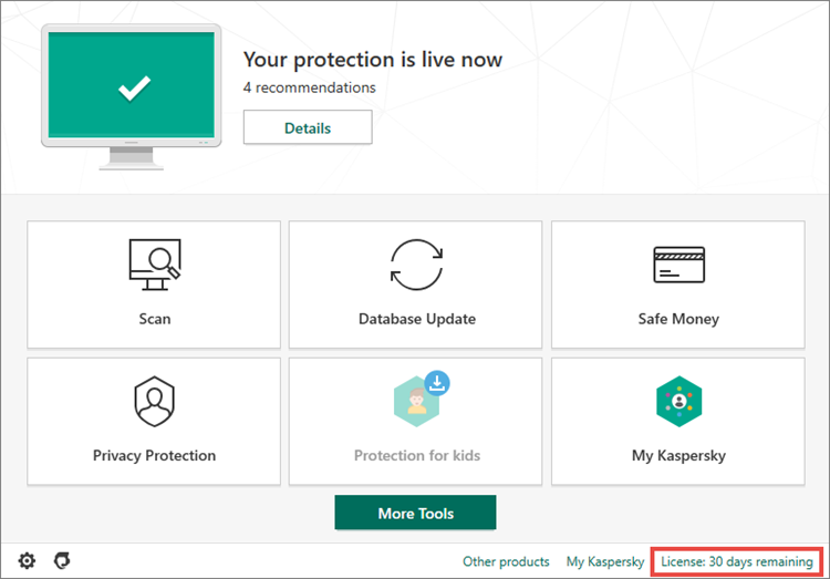 Kaspersky Internet Security Activation Remaining Days