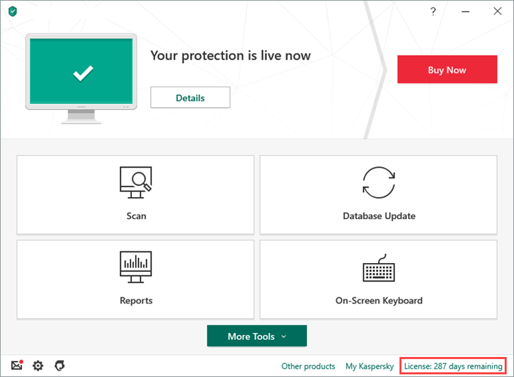 Kaspersky Anti-Virus Activation Main Window