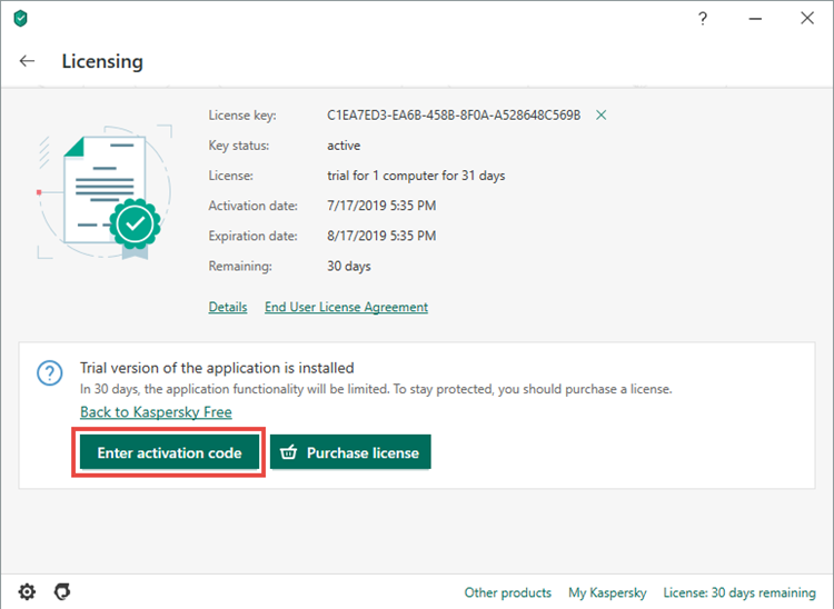 Entering the activation code for Kaspersky Anti-Virus 20