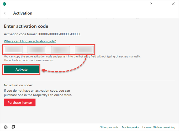 Activating the activation code for Kaspersky Anti-Virus 20