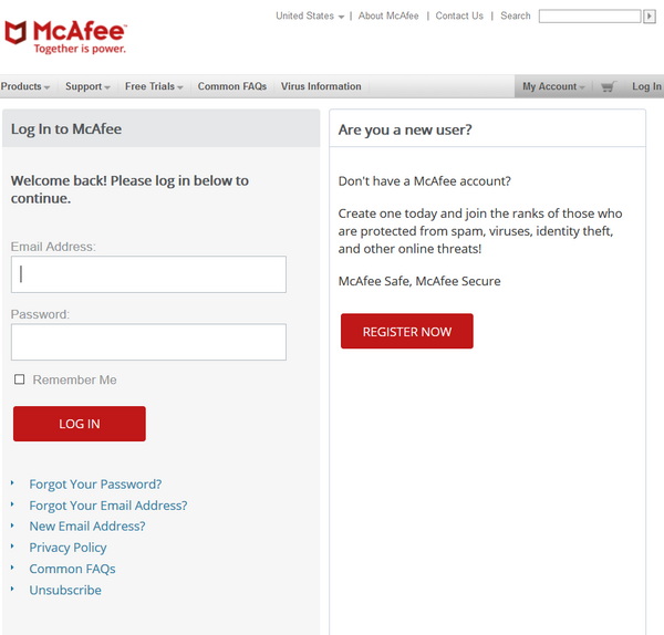 Activate McAfee Subscription Login Sign up