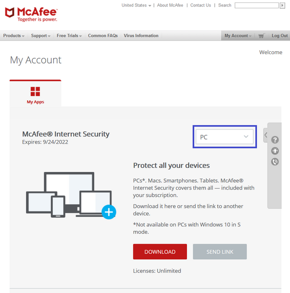 Install McAfee to PC Choose Device