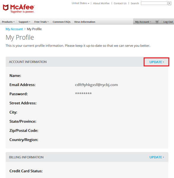 McAfee Account Update Information