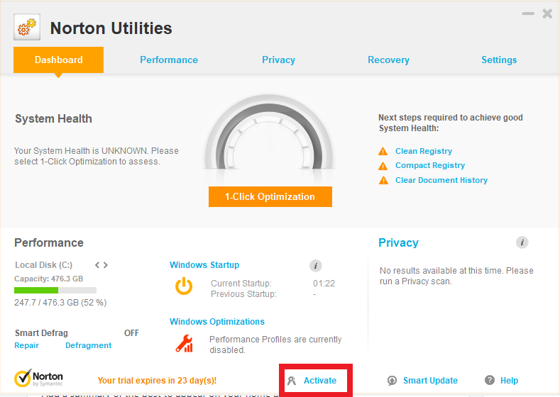 Norton Utilities Activation Main Window
