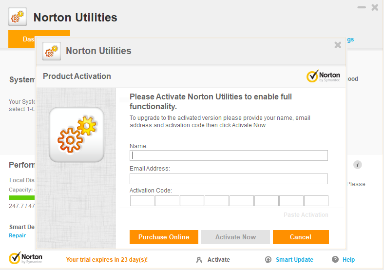Norton Utilities Activation Enter the Information