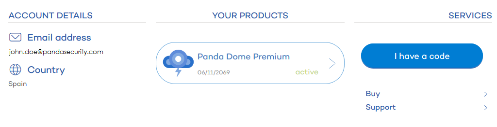 Enter activation code Panda Dome