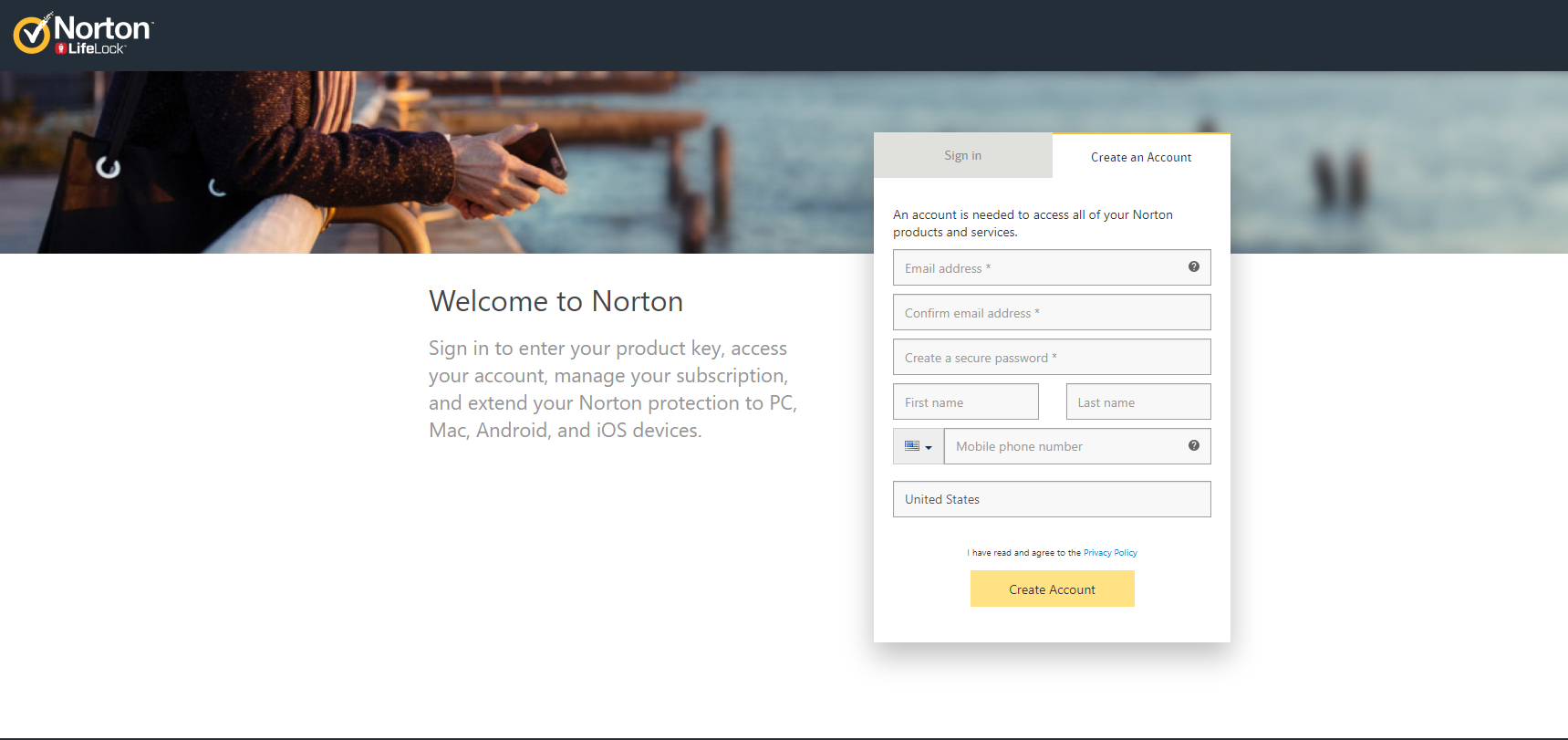 Sign up for Norton account