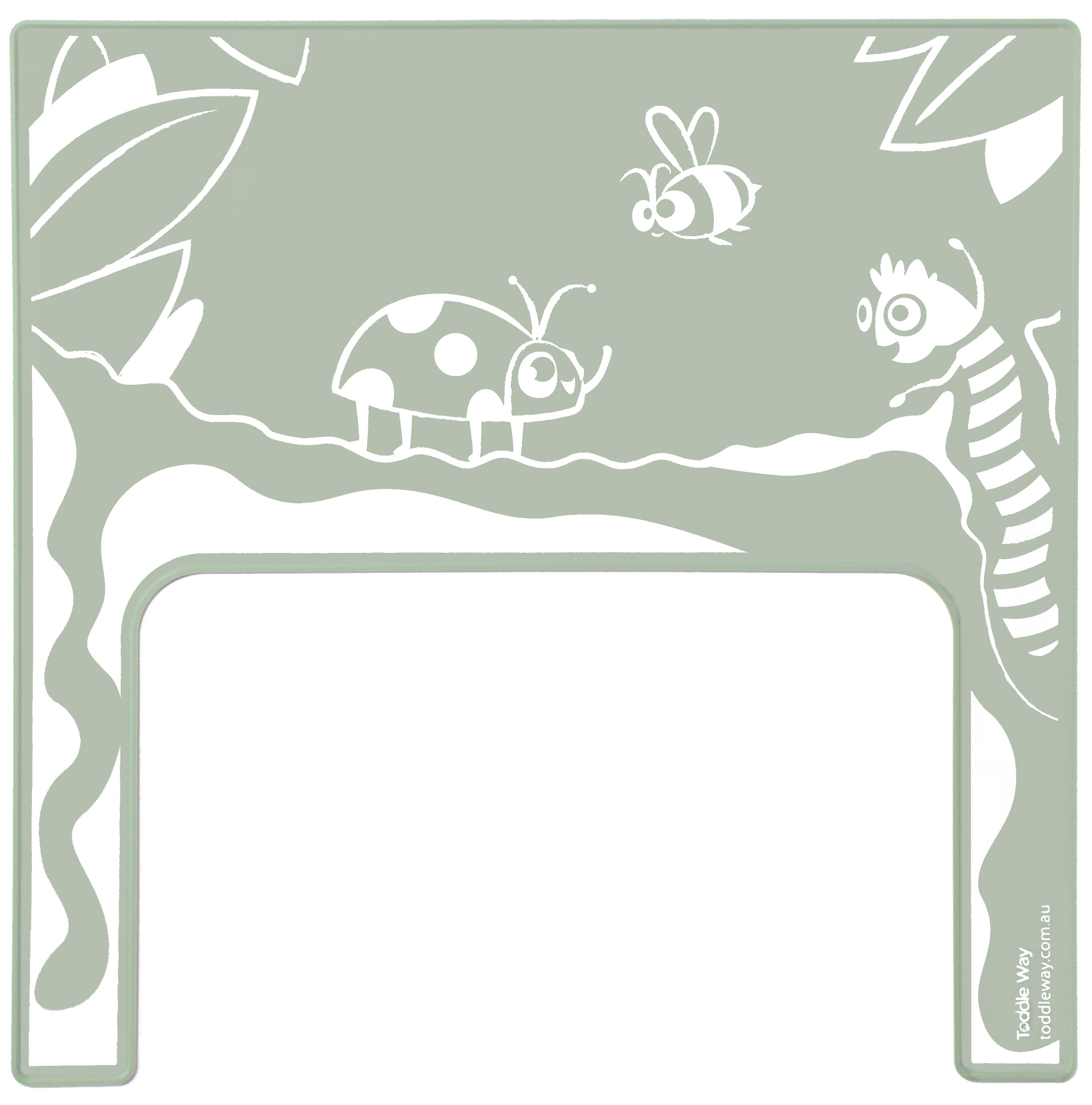 Sage Green with screen printed ladybug/ladybird, bee, caterpillar garden scene on a silicone placemat/meal mat to fit on the tray of the IKEA Antilop high chair.