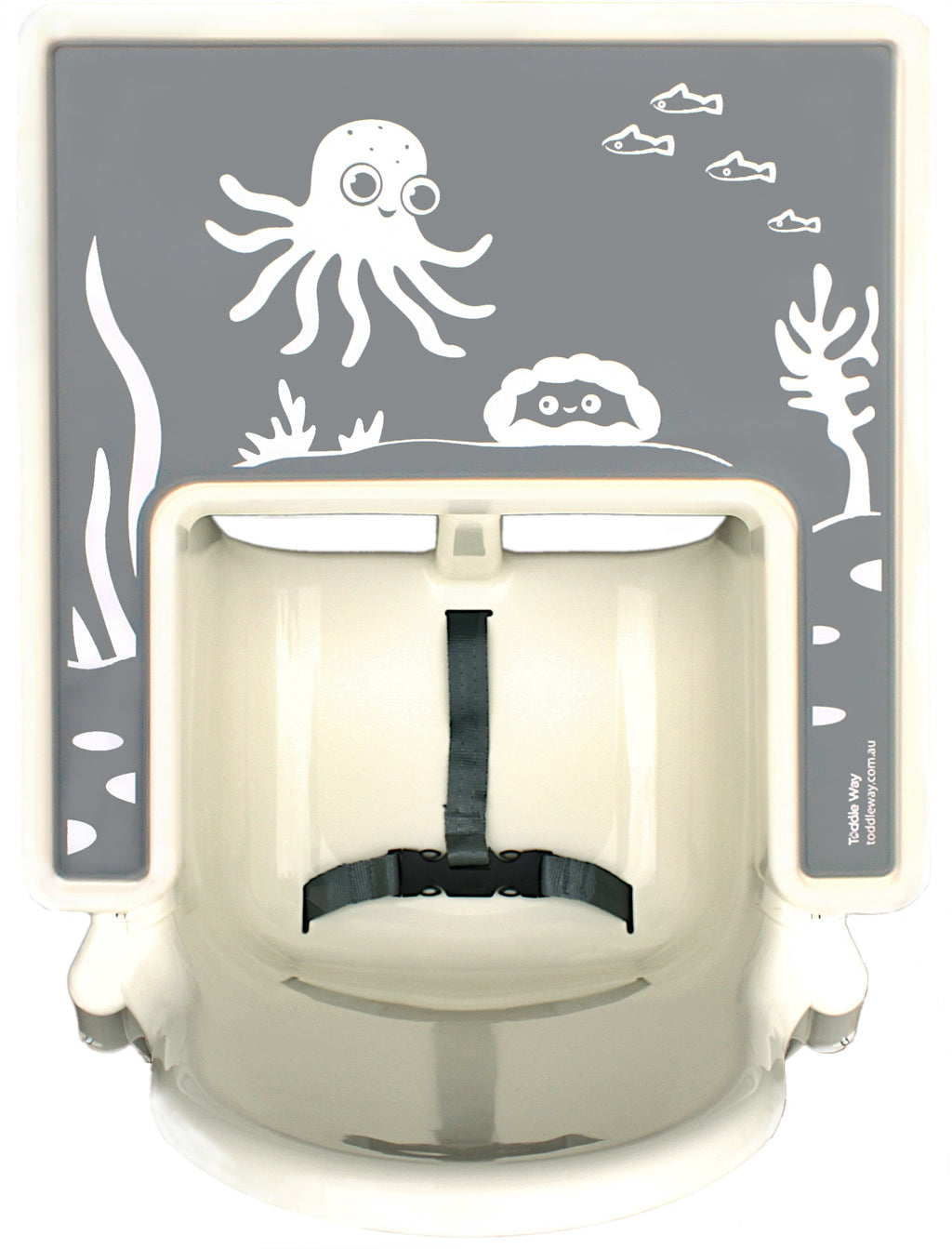 Grey with screen printed octopus, crab, seaweed under the ocean on a silicone placemat/meal mat to fit on the tray of the IKEA Antilop high chair.