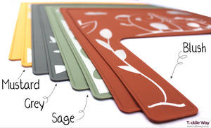 Colour options for the eight different silicone placemat/meal mats designed by Toddle Way to fit perfectly on the IKEA Antilop high chair tray.