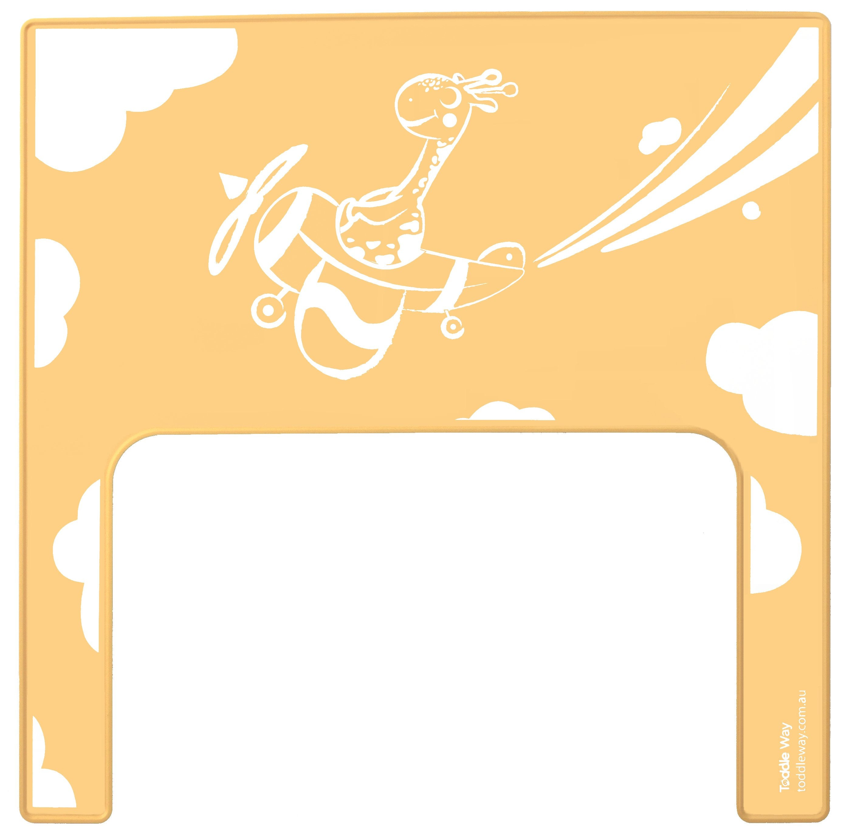 Yellow with screen printed giraffe in an aeroplane flying through clouds printed on a silicone placemat/meal mat to fit on the tray of the IKEA Antilop high chair.
