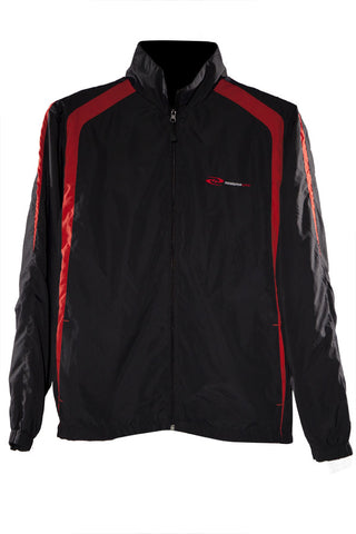 Men's StrongRun Track Jacket at ResistanceWear.com - Black with Red Trim